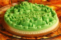 """jello"" birthday ""cake"". made with agar so its vegetarian. so many decorative possibilities."