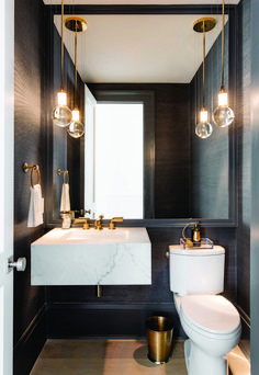 Best Powder Room Ideas & Designs For Your House 2019 The powder room is a half bathroom traditionally just off of the entryway for guests. Take a look at these awesome powder room ides & designs. Bad Inspiration, Bathroom Inspiration, Bathroom Ideas, Bathroom Remodeling, Bathroom Updates, Remodeling Ideas, Vanity Light Fixtures, Powder Room Design, Downstairs Toilet