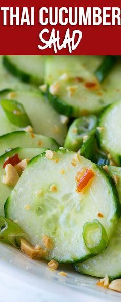 This Crunchy Thai Cucumber Salad is cool and crisp, with a slightly sweet and spicy dressing. This goes perfectly with grilled chicken, fish or steak! Asian Cucumber Salad, Cucumber Recipes, Healthy Salad Recipes, Thai Recipes, Side Dish Recipes, Beef Recipes, Whole Food Recipes, Cooking Recipes, Recipes Dinner