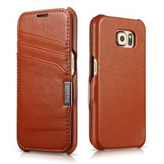 ICARER Card Slot Litchi Pattern Genuine Leather Case For Samsung Galaxy S6 - Brown