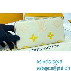 Louis Vuitton Monogram Empreinte Leather Zippy Wallet M80402 Cream/Saffron By The Pool Capsule Collection 2021