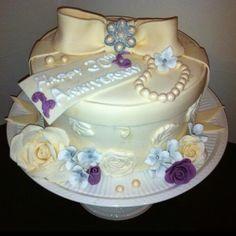 Vintage anniversary raspberry swirl cake