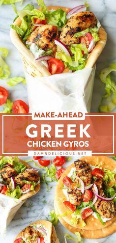 Lunch Recipes, Dinner Recipes, Cooking Recipes, Healthy Recipes, Dinner Ideas, Chicken Gyros, Homemade Tzatziki, Greek Dishes, Tzatziki Sauce