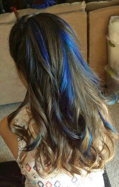 Blue Highlights in brown hair