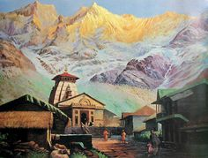 🙏🥀🌷The Panch Kedar Yatra dedicated to God Shiva visit 5 Hindu temples - 🔱Kedarnath 🔱Madhyamaheshwar 🔱Tungnath 🔱Rudranath 🔱Kalpeshwar . Texture Painting On Canvas, Acrylic Painting Canvas, Indian Art Paintings, Nature Paintings, Temple Drawing, Watercolor Landscape Paintings, Watercolor Paintings, Cool Art Drawings, Art Sketches