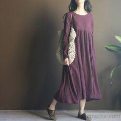 Purple long sleeve linen maxi dress sundresses plus size linen clothing