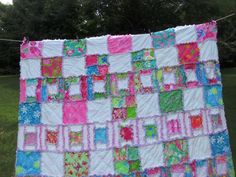 Lilly Pulitzer Queen size bed rag quilt..port of by dmaeredesigns, $525.00
