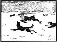 Ulv og rein 2 - John Andreas Savio Printmaking, Om, Moose Art, Culture, Black And White, People, Animals, Inspiration, Black White