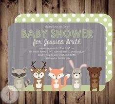 Etsy invitation - for woodland animals baby shower
