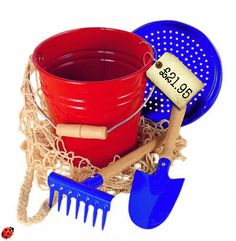 PERFECT Traditional Bucket & Spade set… Gloriously bold and bright, with sheet metal construction that will last for years and wooden handles that are just waiting for small hands to love them (no more awkward rubbish plastic bucket handles that just bend and pop off when you fill it with water).