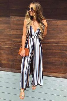 striped jumpsuit-Morning summer outfit ideas – Just Trendy Girls - striped dress summer outfits summer dress outfit blue summer dress outfit blue summer dress outfit outfits baby blue dress - blue dress outfit - Summer Blue Dresses 2019 Casual Wear, Casual Outfits, Fashion Outfits, Fashion Ideas, Dress Casual, Fashion Trends, Fashion Styles, Style Fashion, Casual Summer Outfits For Women