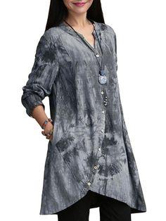 O-NEWE Women Vintage Printing V Neck Button Irregular Blouse