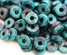 Greek Ceramic beads  Moss dark Turquoise with purple  by MayaHoney, $1.85