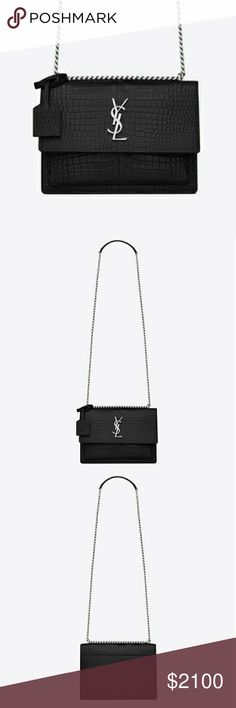 NWOT❤ YSL❤Black Crocodile Embossed Patent Brand New without Tags this gorgeous Limited Condition SAINT LAURANT bag is in perfect and pristine condition and part of their 2018 Winter Collection❤ Comes with YSL dust bag and will be AUTHENTICATED and % GUARANTEED by Poshmark Luxury Concierge DIMENSIONS: 8.6, 6.2, 3.1 INCHES 100% CALFSKIN SUEDE LINING MAGNETIC SNAP CLOSURE SILVER-TONED HARDWARE GUSSETED SLOT POCKET UNDER FLAP AND EXTERIOR BACK SLOT POCKET INTERIOR SLOT POCKET DOUBLED STRAP DROP…