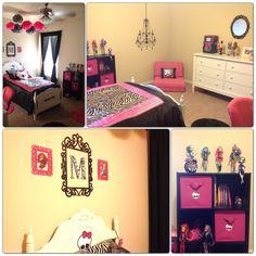 Monster high room, zebra/pink girls room