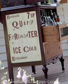 Bliss Ranch: Old Dresser Turned Portable Bar              *Not a tutorial - but great inspiration! *