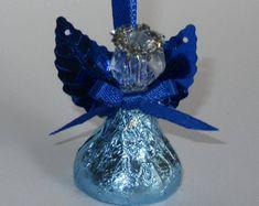 AZUL Chocolate dulces Ángeles - juego de 36 Ángeles envuelven con la hoja azul, despedida de soltera, boda, Favor de cristiano Bautismo, primera comunión