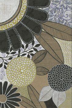 susan black design: kraft / gold / black / white Surface Pattern Design, Pattern Art, Textures Patterns, Print Patterns, Susan Black, Photocollage, Motif Floral, Art Sketchbook, Botanical Art