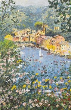 Michele Cascella - Springtime in Portofino, Oil on...