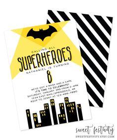 Batman Invitation | Batman Party | Superhero Invitation | Printable Invitation by SweetFestivity on Etsy https://www.etsy.com/listing/452595352/batman-invitation-batman-party-superhero