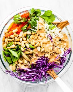 Cheers to the weekend... and to this delicious summer salad topped with a Thai Peanut Butter dressing! 🥗🍾☀️ @theendlessmeal
