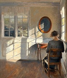 """ Peter Ilsted (Danish, Sunshine in the living room. Oil on canvas, x cm. Tableaux Vivants, Art Society, Art Moderne, Beautiful Paintings, Oeuvre D'art, Painting & Drawing, Drawing Room, Art Inspo, Printmaking"