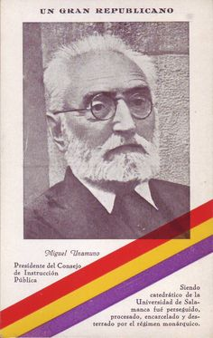 Miguel de Unamuno: President del Consejo de la Instrucción Pública. #postalsIIRepublica #CRAIBibrepublica #CRAIUB Balearic Islands, Civilization, Madrid, Spanish, War, Grandparent, Thoughts, Spain, Spanish Language