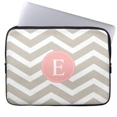 Customise this vibrant peach pink, tan brown and white chevron pattern and monogram circle with the name of your choice.