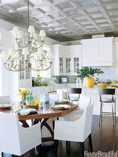 Kitchen with pressed-tin ceiling.