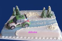 I modeled the car and trees out of fondant. Snow is made ?of Buttercream icing. Ice Cake, Buttercream Icing, Rally, Fondant, Trees, Snow, Car, Automobile, Tree Structure