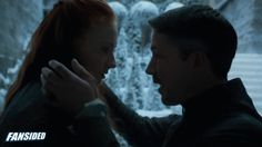 "Petyr Baelish and Sansa Stark. I found that their kiss was quite beautiful; although It appears wrong from many of the happenings within the books.. I think Sansa Stark is a developing character and Lord Baelish has a massive influence on her fate in the future.  This scene was lovely, for the surroundings and for the characters' interactions.  ""Did you lie for me?"""