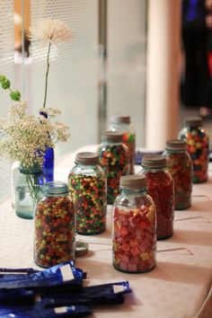 my wedding- candy in blue mason jars