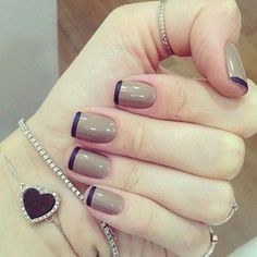 warm grey and navy french manicure... might use purple instead