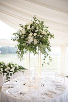 eucalyptus and olive branch tall wedding centerpiece ideas