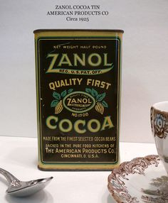 1920's Antique Advertising Tin Zanol Cocoa by EvelynnsAlcove