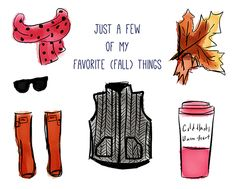 """scarf : sunglasses :boots : vest : coffee 'to-go cup"""" : leaf  #EngVocab"""