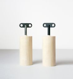 Salt and Pepper box that look like wind-up toys by Oscar Diaz.