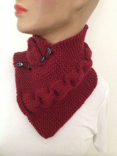 Burgundy neckwarmers with buttonChunky  Scarf by NesrinArt on Etsy, $24.00