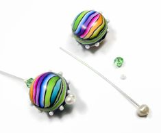 Rainbow  Ball Earrings with seed beads & pearl.  Great for beginners - skinner blend, plugs, reshaping, wraps. How to add beads with liquid polymer. #Polymer #Clay #Tutorials