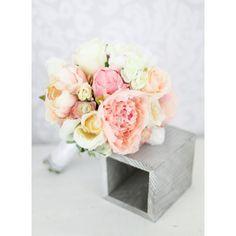 Peach Cream and Pink Silk Peony Bouquet