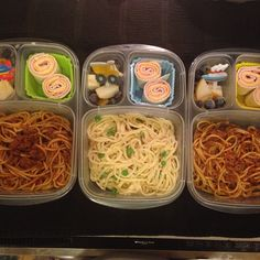 Lunch for my three boys, Alfredo and tomato spaghetti, Asian pears with berries and ham, cheese rolls, #easylunchboxes #kids-lunch #bento @EasyLunchboxes {via ricciramos - Instagram}