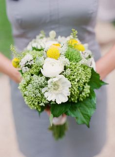 natural white bouquet with billy button accent.
