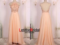2015 Ball Gown Beaded Light Pink Chiffon Long by LetitbeBridal