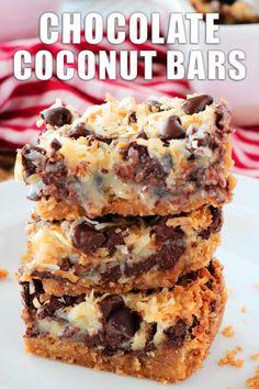 Coconut Milk Recipes, Coconut Desserts, Easy Desserts, Easy Dessert Bars, Coconut Cookie Recipe, Dessert Ideas For Party, Coconut Squares Recipe, Easy Chocolate Desserts, Dessert Recipes