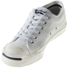 The Converse Chuck Taylor All Star Jack Purcell CP White/White Low Top is all white except for a bold black line around the outsole and signature smile on the heel. Features a white canvas upper with a rubber outsole and vulcanized construction.