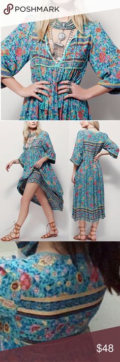 "RESTOCKED!! Folk Town Teal Floral Maxi DRESS NEW BRAND NEW!! Boho maxi-dress, In a beautifully detailed print & silhouette, this vintage-inspired floral pattern is in an oversized fit. 🌟Similar style by Free People, Spell & the Gypsy Collective.🌟 ❣Final Restock - Order Now❣  S: Bust: 36""/Waist: 35.9""/L: 46.4"" M: Bust: 38.8""/Waist: 37""/L: 47.2"" L: Bust: 41""/Waist: 38.6""/L: 48"" XL: Bust: 41.9""/Waist: 39""/L: 48.8""  🌟Item is Brand New, direct from the Manufacturer, & Sealed in Pkg. 🌟 Dresses…"