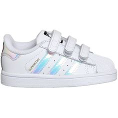 Adidas Superstar Infant 2-9 White Metallic Silver White ($51) ❤ liked on Polyvore featuring baby girl and shoes