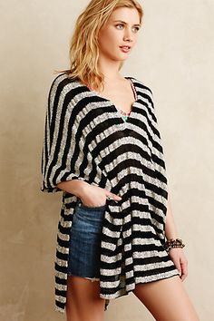 Sheer-Stripe Poncho #anthropologie