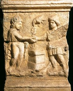 Altar dedicated to Emperor Gallienus health depicting pact between Sun and Mithra. Roman civilization.