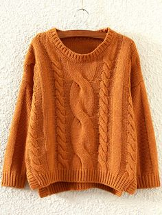 Brown Round Neck Split Cable Knit Sweater -SheIn(abaday)